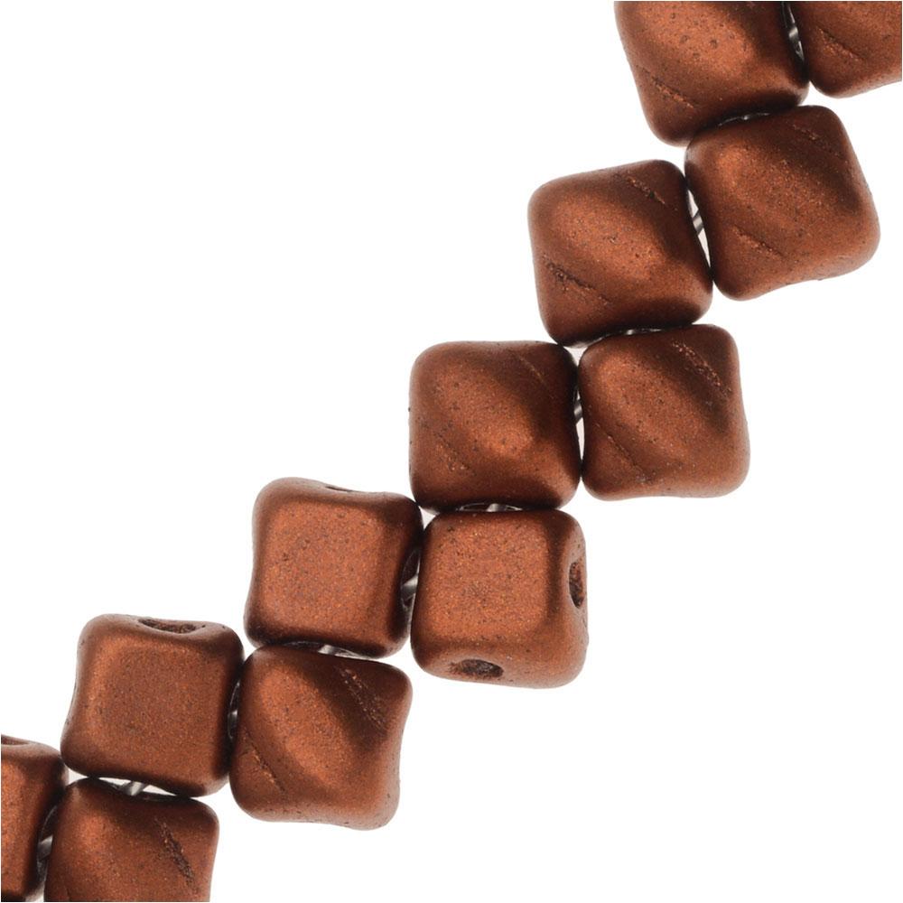 Czech Glass Mini 2-Hole Silky Beads, 5mm Diamond Shape, 40 Pieces, Bronze Fire Red