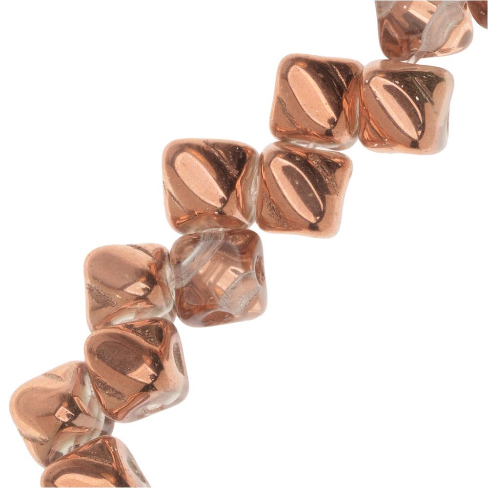 Czech Glass Mini 2-Hole Silky Beads, 5mm Diamond Shape, 40 Pieces, Crystal Capri Gold