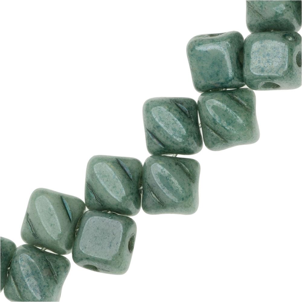 Czech Glass Mini 2-Hole Silky Beads, 5mm Diamond Shape, 40 Pieces, Green Luster