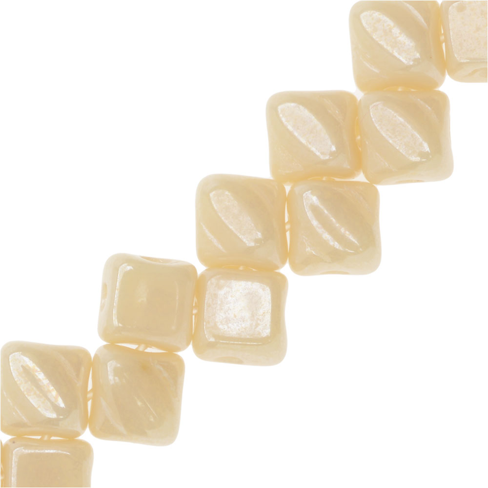 Czech Glass Mini 2-Hole Silky Beads, 5mm Diamond Shape, 40 Pieces, Ivory Luster