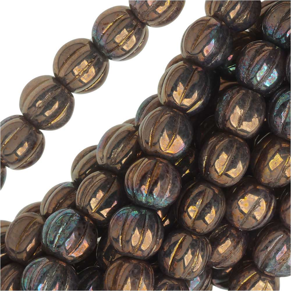 Czech Glass - Round Melon Beads 5mm 'Opaque Smoked Bronze Luster' (50)