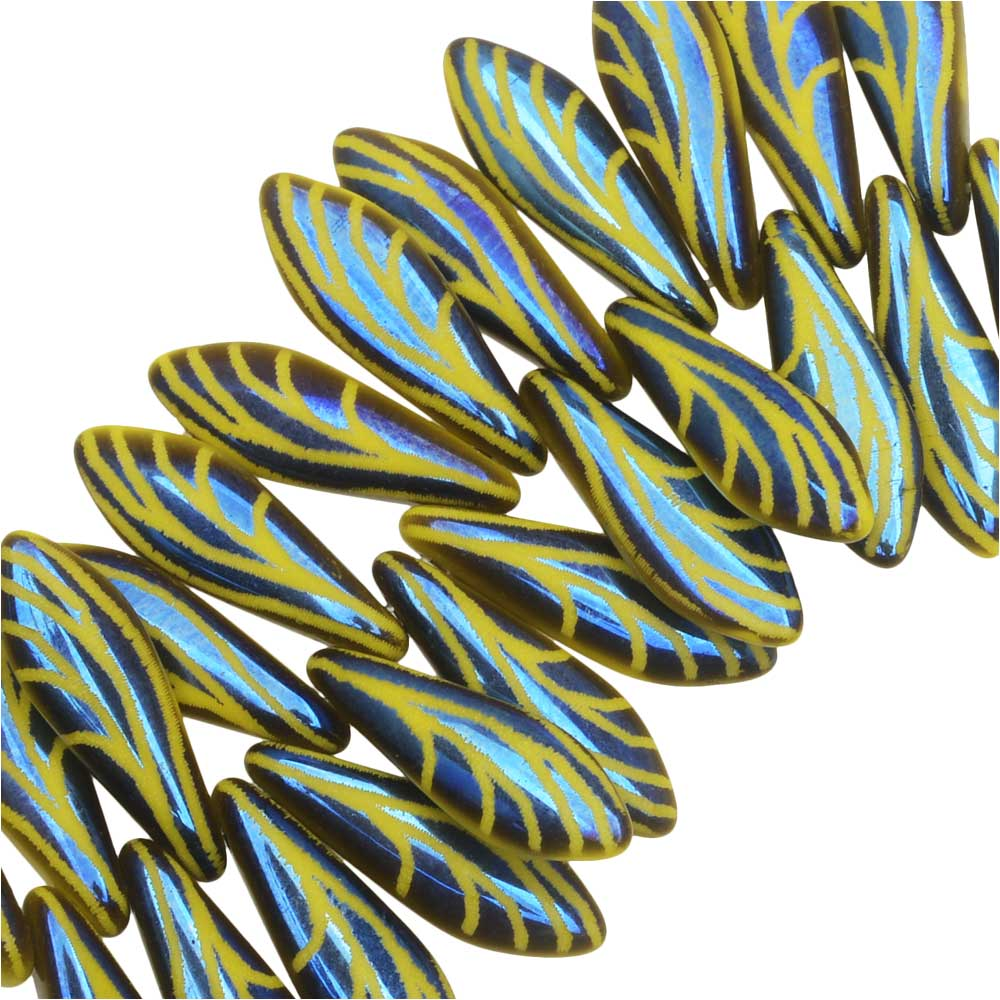 Czech Glass, Dagger Beads with Laser Etched Wing Design 16x5mm, 25 Pieces, Yellow Opaque