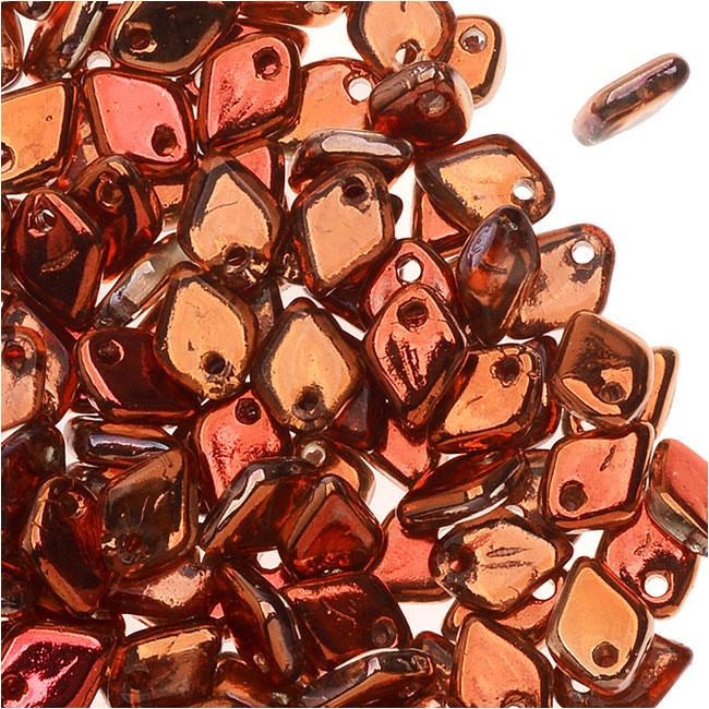 Czech Glass, Dragon Scale Beads 1.5x5mm, 9.5 Gram Tube, Crystal Sunset