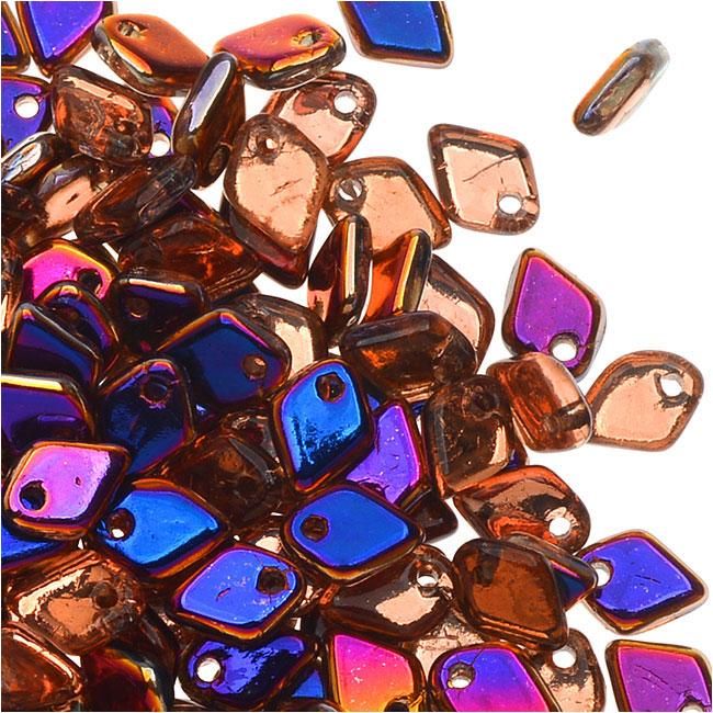 Czech Glass, Dragon Scale Beads 1.5x5mm, 9.5 Gram Tube, Crystal Sliperit