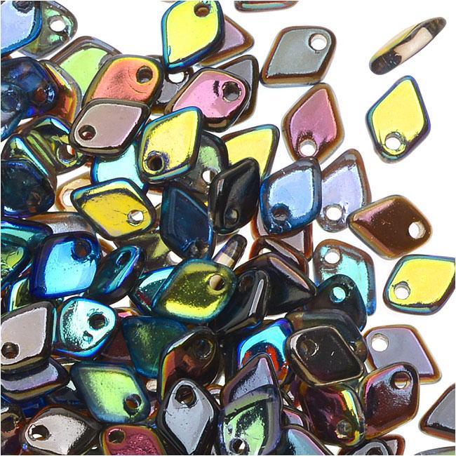Czech Glass, Dragon Scale Beads 1.5x5mm, 9.5 Gram Tube, Crystal / Graphite Rainbow