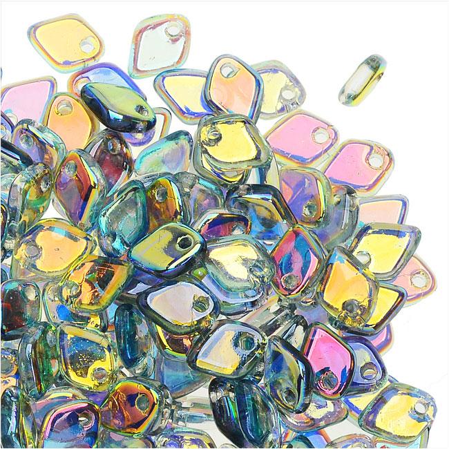 Czech Glass, Dragon Scale Beads 1.5x5mm, 9.5 Gram Tube, Crystal / Blue Rainbow