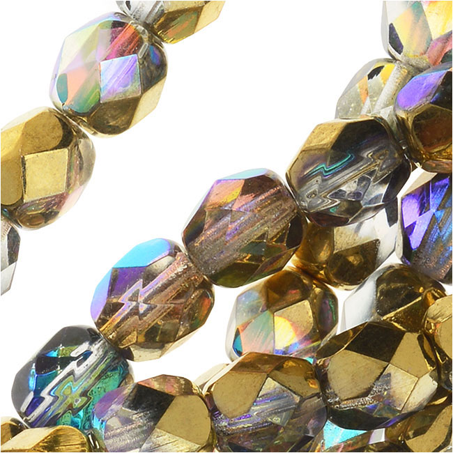 Czech Fire Polished Glass, Faceted Round Beads 6mm, 25 Pieces, Crystal Golden Rainbow