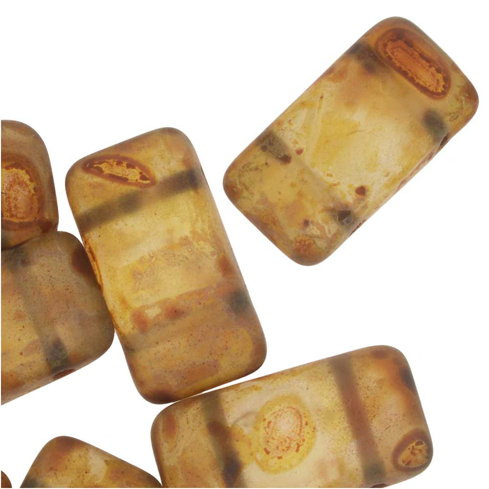 Czech Glass Carrier Beads, 2-Hole Rectangle 9x17mm, 15 Beads, Matte Travertine