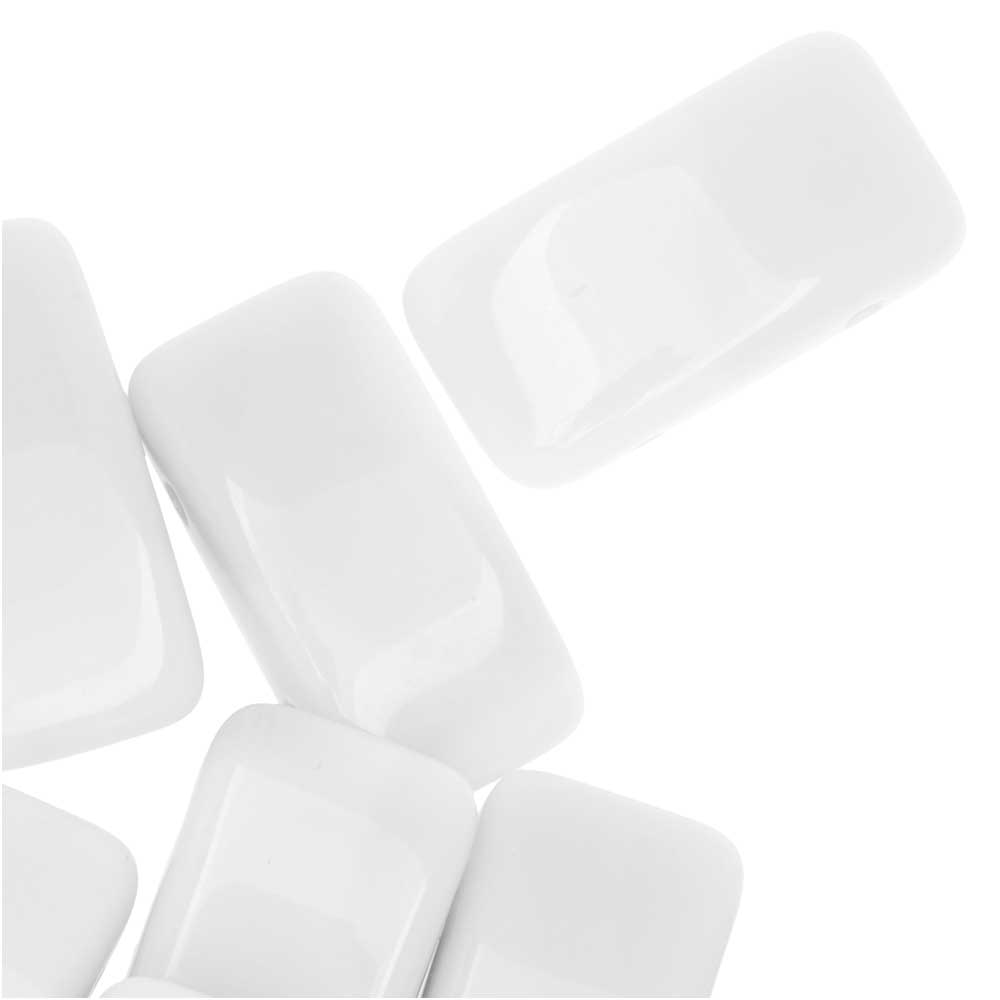 Czech Glass Carrier Beads, 2-Hole Rectangle 9x17mm, 15 Beads, White