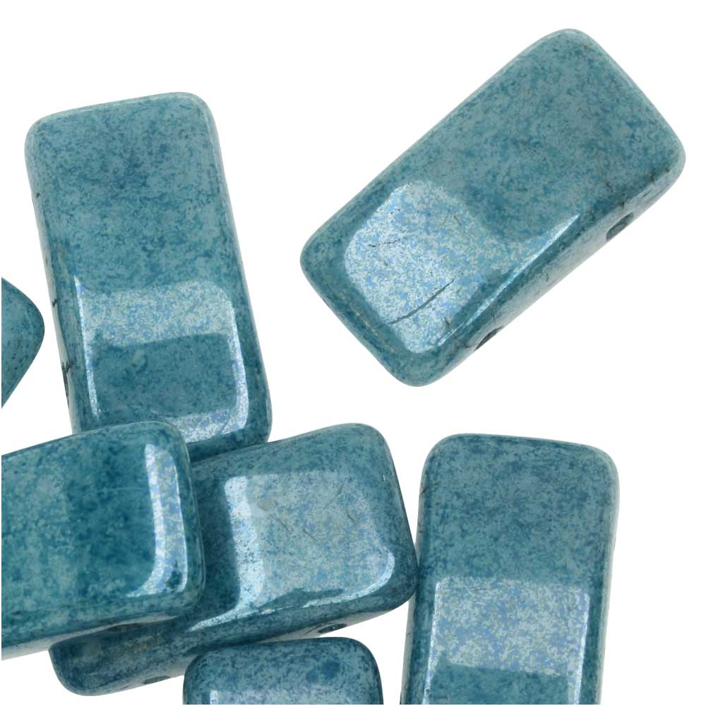 Czech Glass Carrier Beads, 2-Hole Rectangle 9x17mm, 15 Beads, Blue Luster