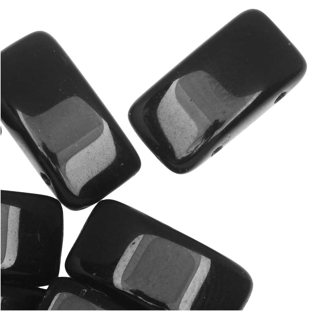 Czech Glass Carrier Beads, 2-Hole Rectangle 9x17mm, 15 Beads, Jet