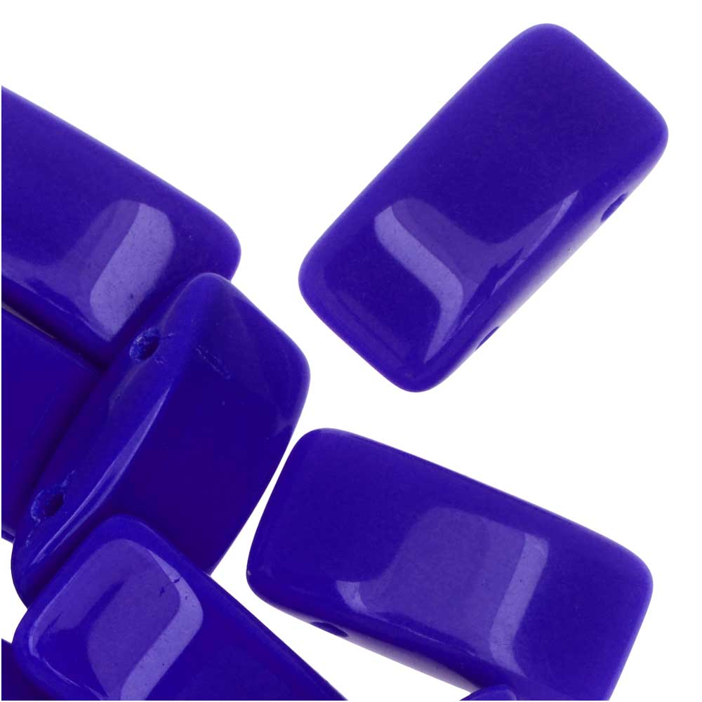 Czech Glass Carrier Beads, 2-Hole Rectangle 9x17mm, 15 Beads, Blue