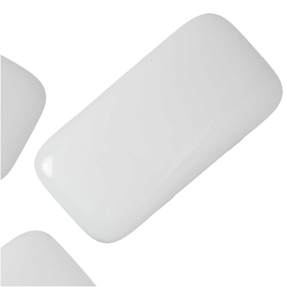 Czech Glass Carrier Beads, 2-Hole Rectangle 11x22mm, 12 Pieces, White