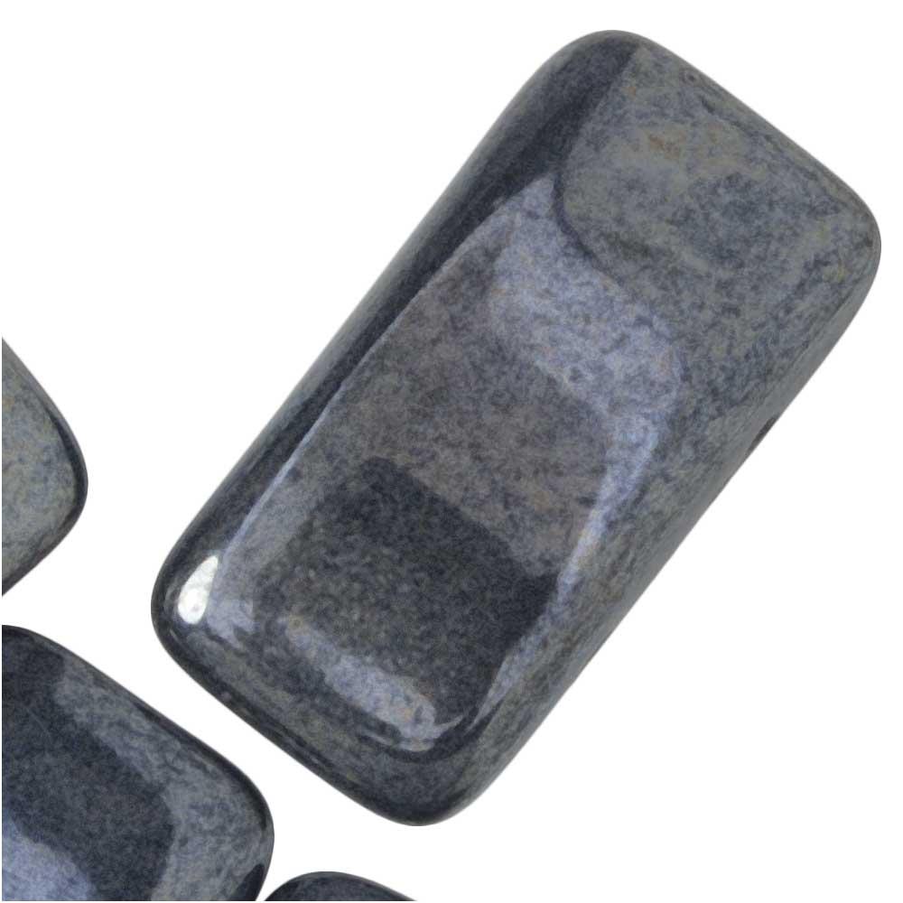 Final Sale - Czech Glass Carrier Beads, 2-Hole Rectangle 11x22mm, 12 Pieces, Jet Gunmetal
