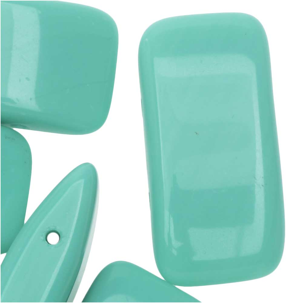 Final Sale - Czech Glass Carrier Beads, 2-Hole Rectangle 11x22mm, 12 Pieces, Turquoise Green