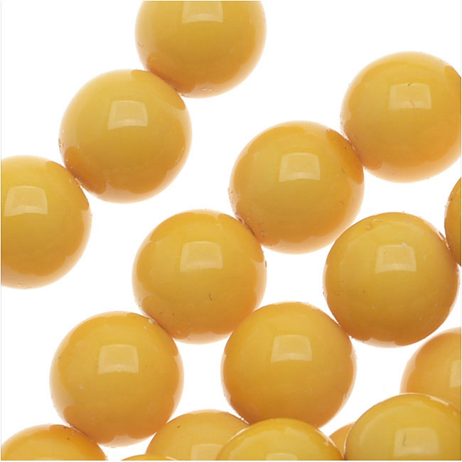 Czech Glass Pastella Collection, Smooth Round Druk Beads 8mm, 1 Strand, Goldenrod Yellow