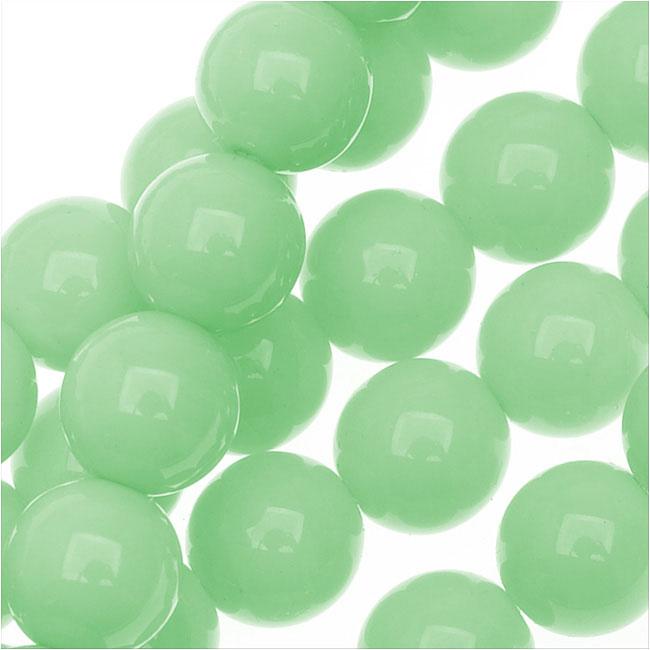 Czech Glass Pastella Collection, Smooth Round Druk Beads 8mm, 1 Strand, Mint Green
