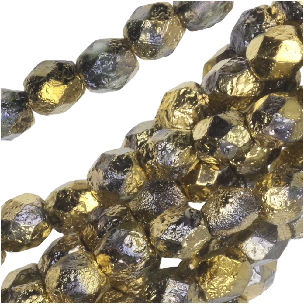Czech Fire Polished Glass Beads, Faceted Round 4mm, 40 Pieces, Etched Crystal Full Amber