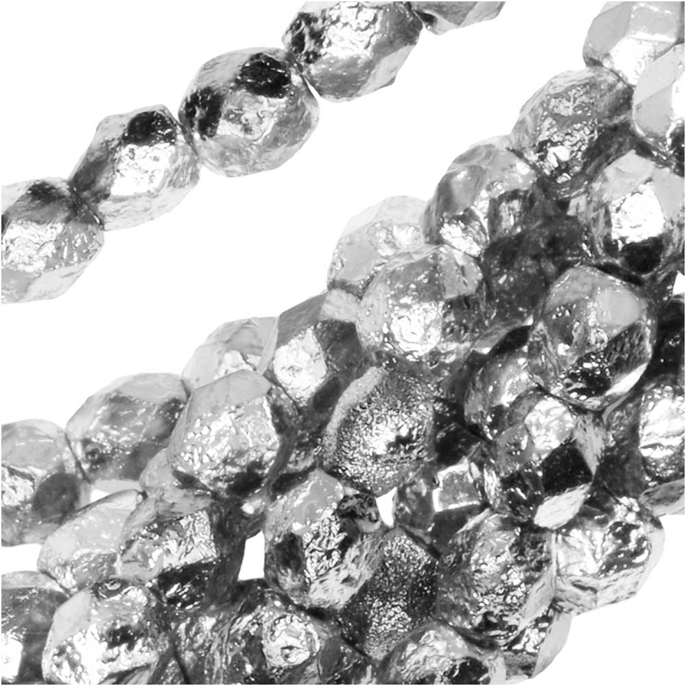 Czech Fire Polished Glass Beads, Faceted Round 4mm, 40 Pieces, Etched Crystal Full Labrador