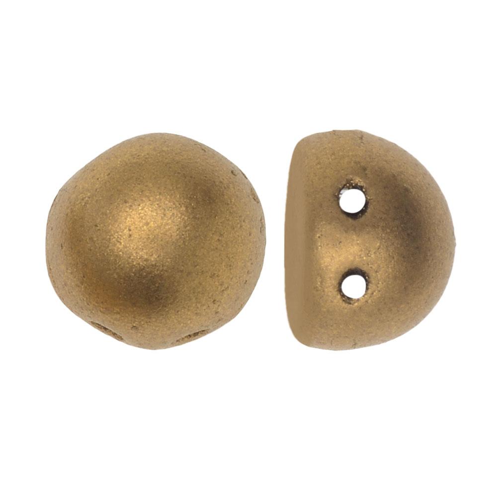 CzechMates Glass, 2-Hole Round Cabochon Beads 7mm Diameter, 25 Pieces, Matte Metallic Flax