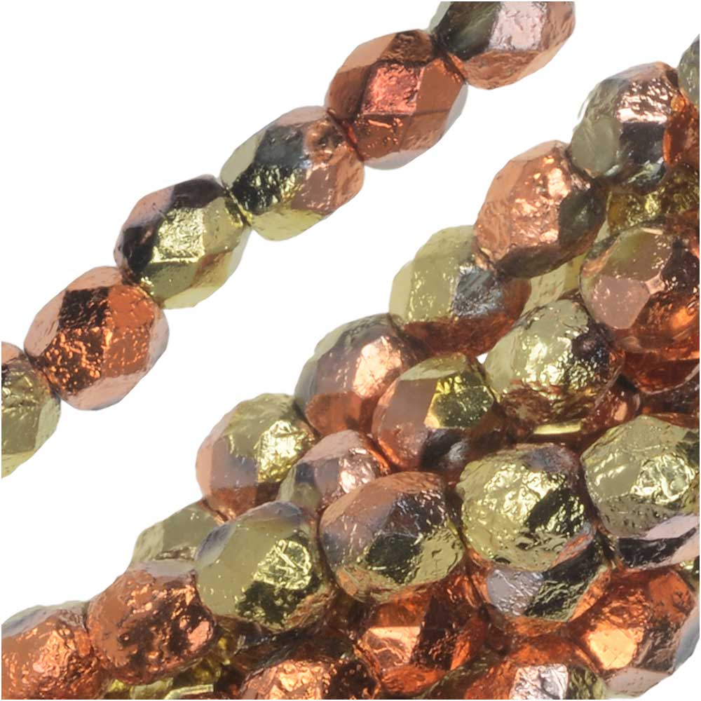 Czech Fire Polished Glass Beads, Faceted Round 4mm, 40 Pieces, Etched Crystal California Gold Rush