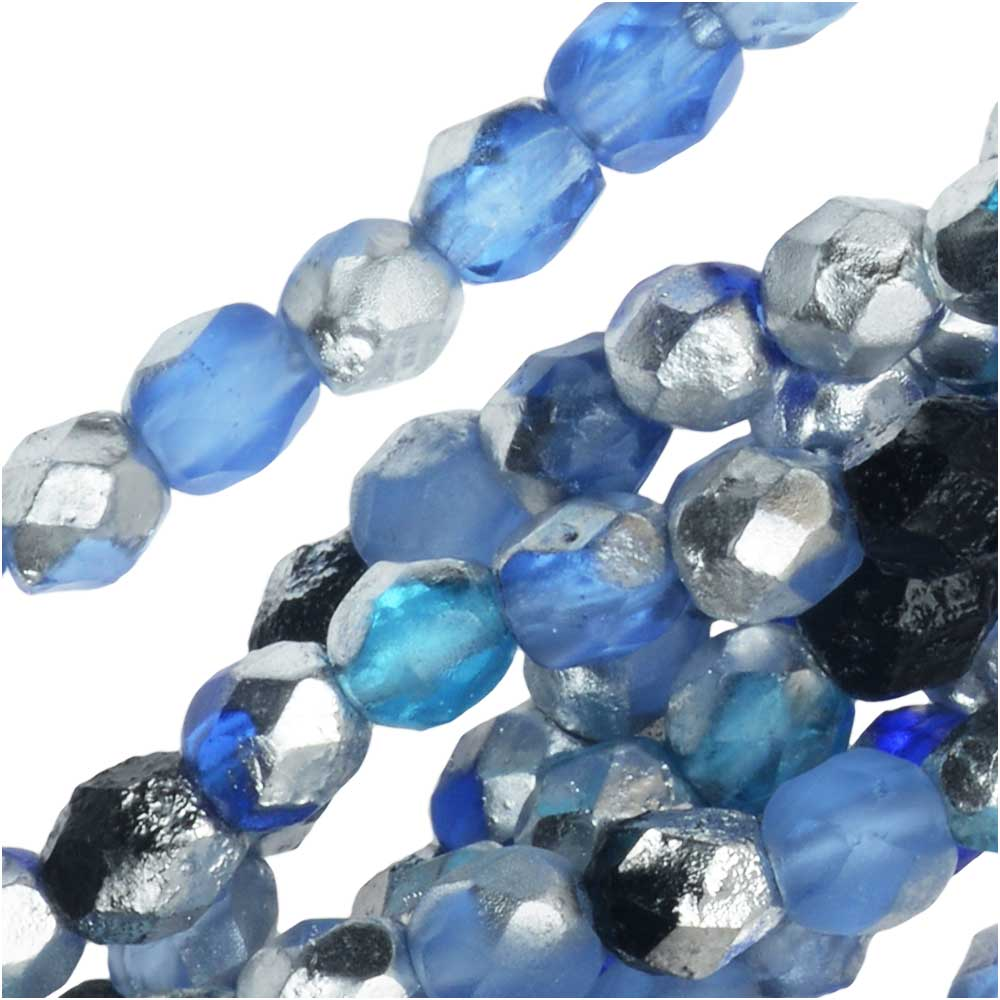 Czech Fire Polished Glass Beads, Faceted Round 4mm, 40 Pieces, Blue Tone Mix and Etched Labrador
