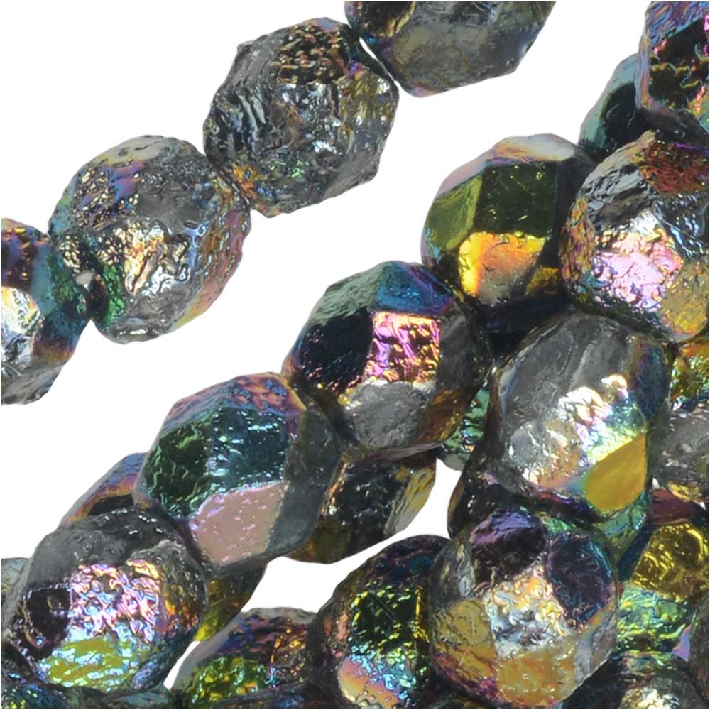 Czech Fire Polished Glass Beads, Faceted Round 6mm, 25 Pieces, Etched Crystal Full Vitrail