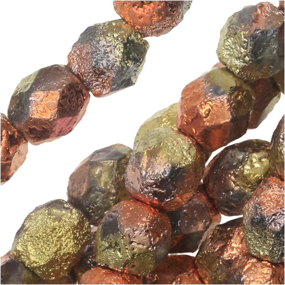 Czech Fire Polished Glass Beads, Faceted Round 6mm, 25 Pieces, Etched Crystal California Gold Rush
