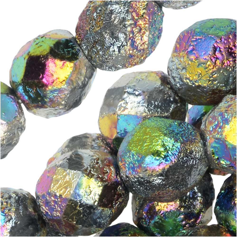 Czech Fire Polished Glass Beads, Faceted Round 8mm, 20 Pieces, Etched Crystal Full Vitrail