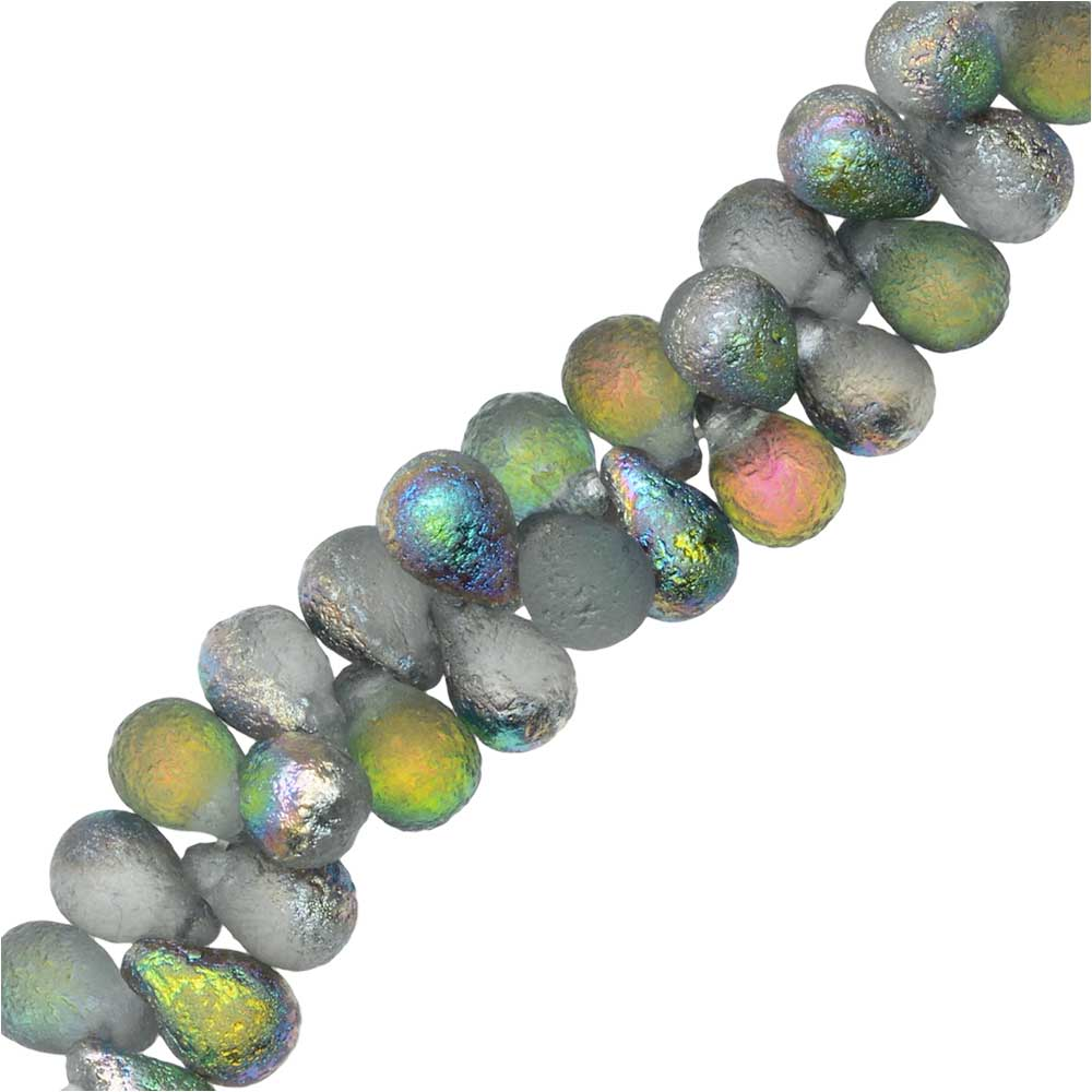 Czech Glass Beads, Teardrop 6x4mm, 25 Pieces, Etched Crystal Full Vitrail