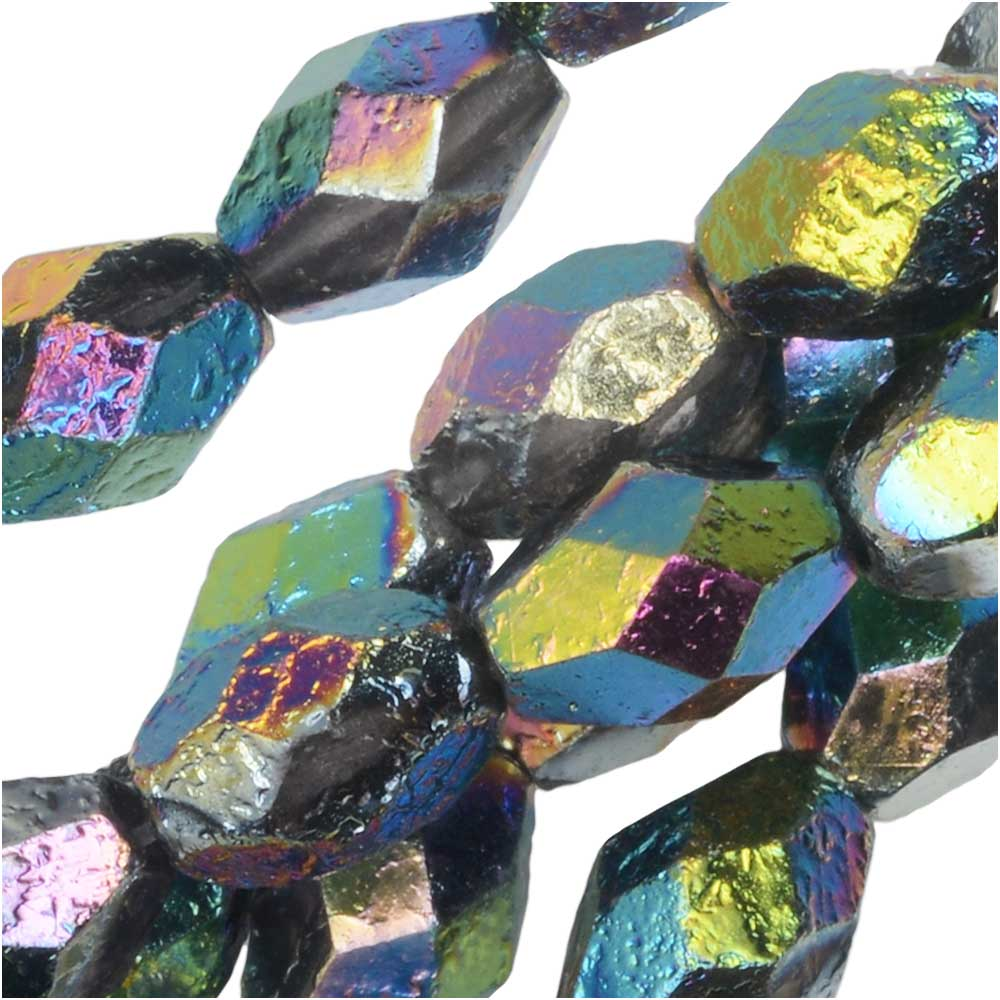 Czech Fire Polished Glass Beads, Faceted Oval 8x6mm, 20 Pieces, Etched Crystal Full Vitrail