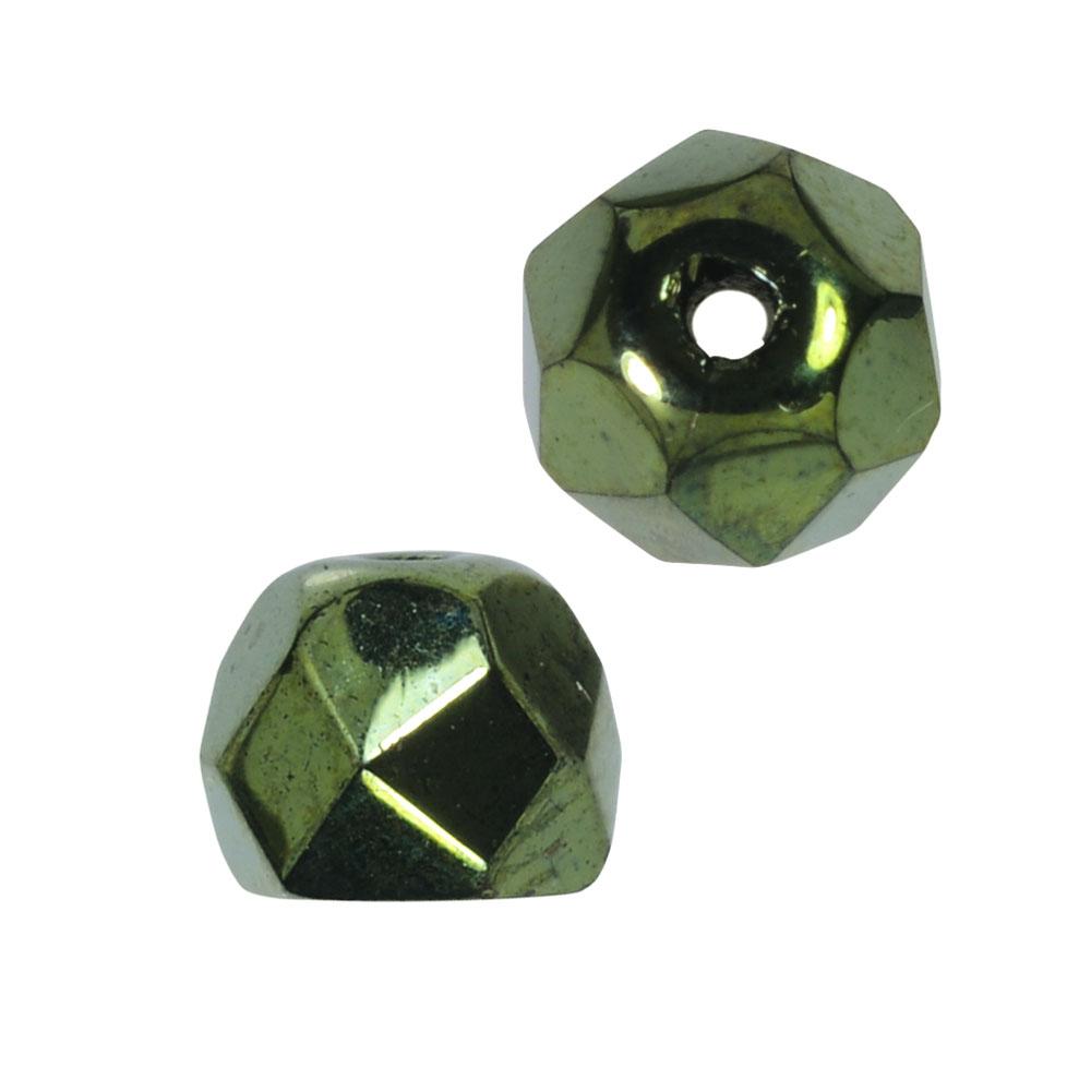 Preciosa Fire Polished Czech Glass, Faceted Half Ball Hill Beads 5.5mm, 24 Pieces, Metallic Green
