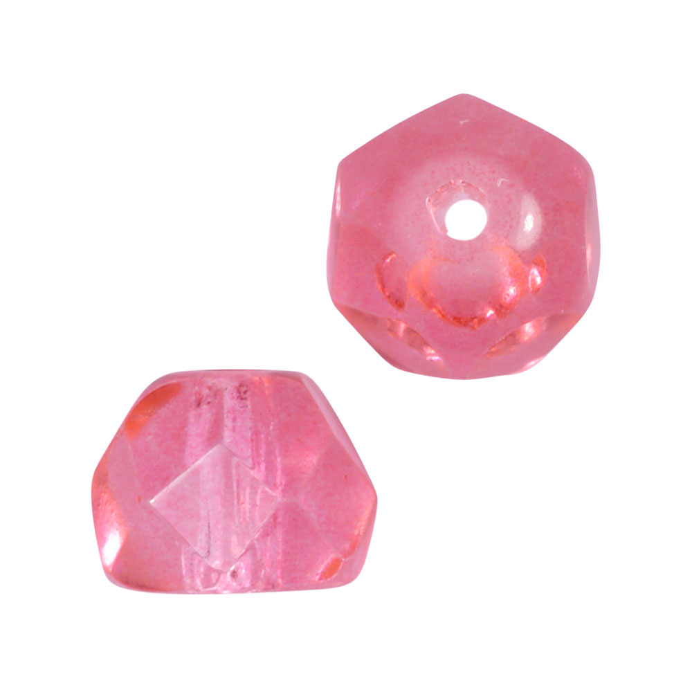 Preciosa Fire Polished Czech Glass, Faceted Half Ball Hill Beads 5.5mm, 24 Pieces, Pink