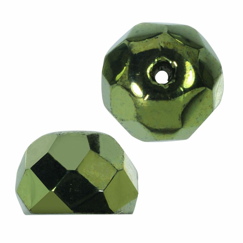 Preciosa Fire Polished Czech Glass, Faceted Half Ball Hill Beads 7.5mm, 12 Pieces, Metallic Green