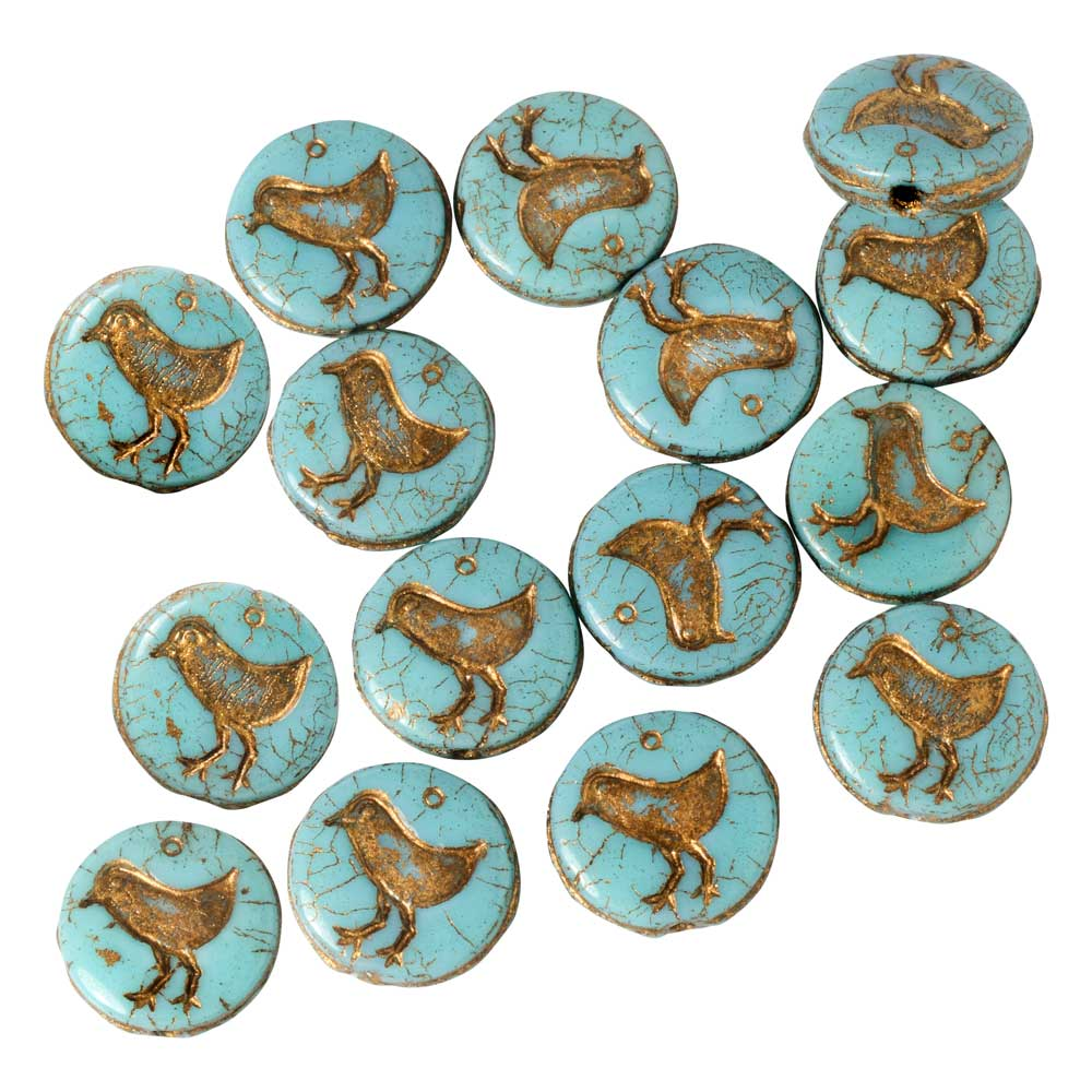 Czech Glass Beads, Bird Coin 11mm, Turquoise Opaque, Dark Bronze Wash, 1 Strand, by Raven's Journey