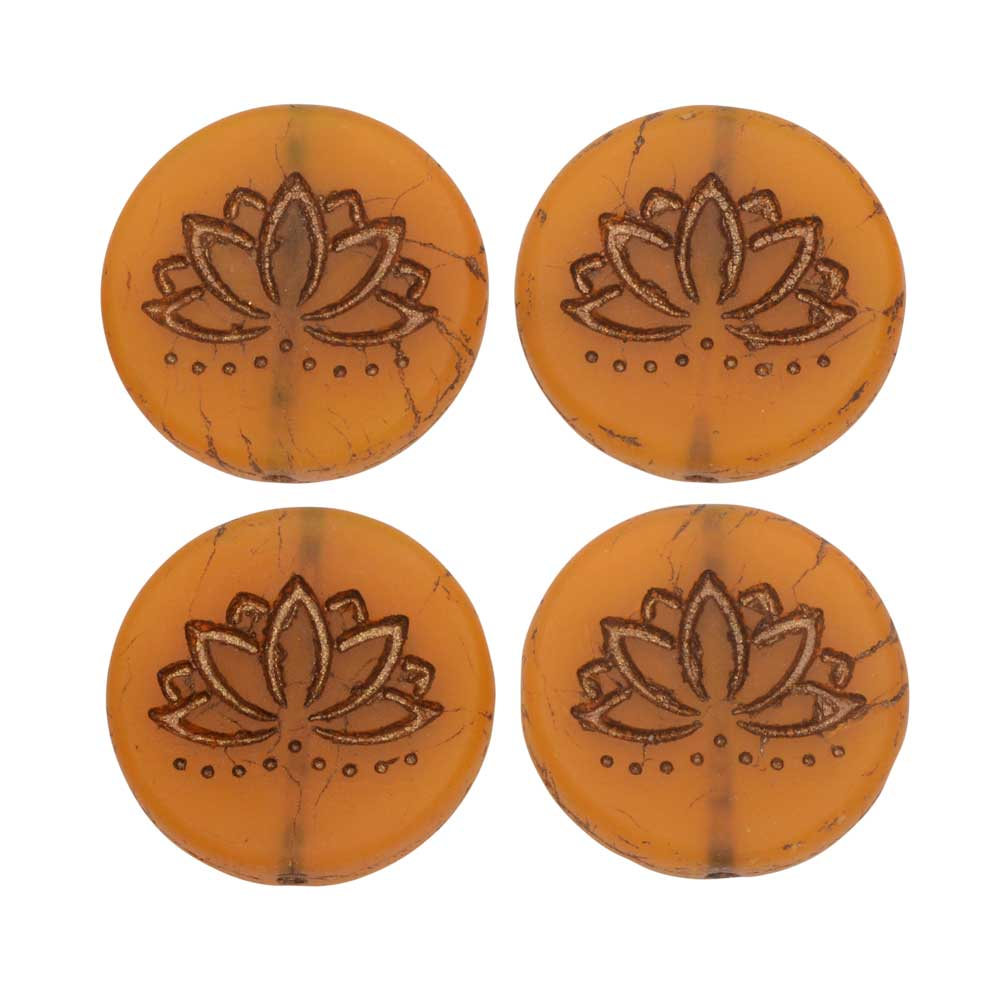 Czech Glass Beads, Lotus Flower Coin 18mm, Orange Opaline Matte,Dark Bronze,4 Pc, by Raven's Journey