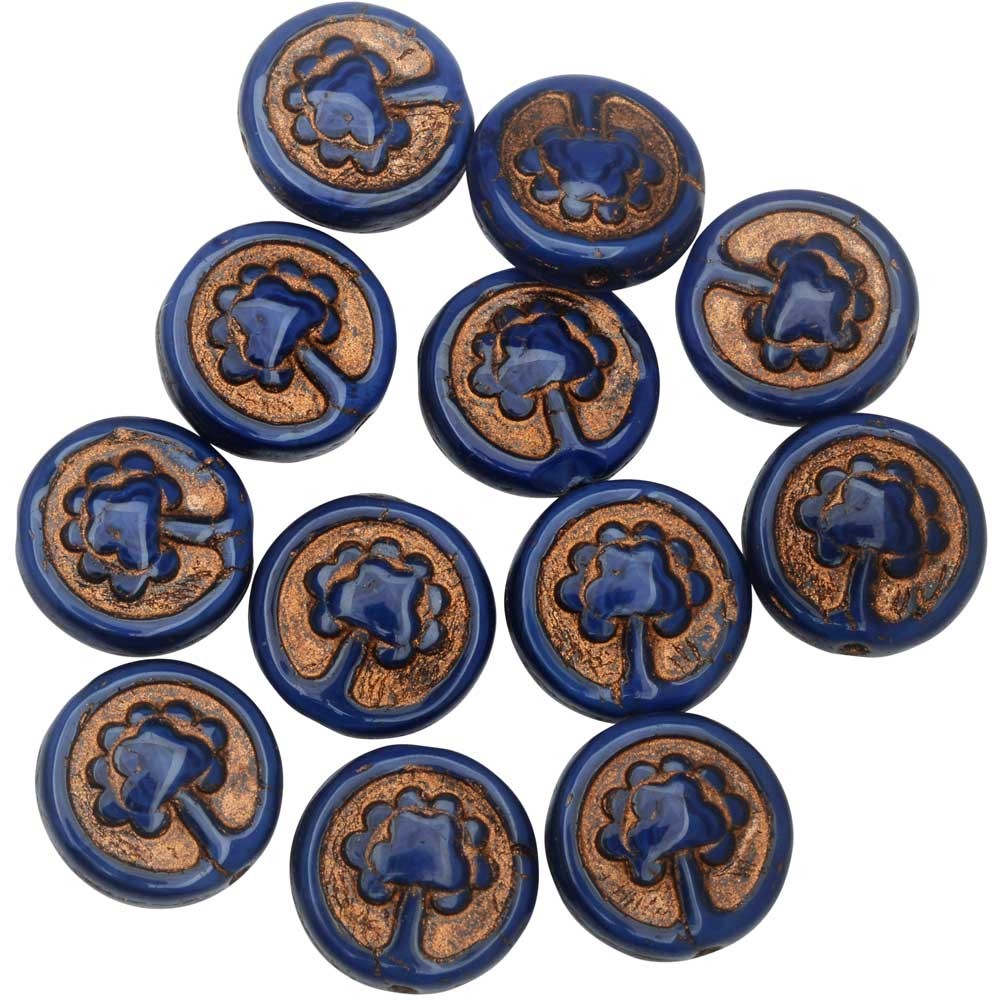 Czech Glass Beads, Tree Coin 13.5mm, Royal Blue Silk, Dark Bronze Wash, 1 Strand, by Raven's Journey