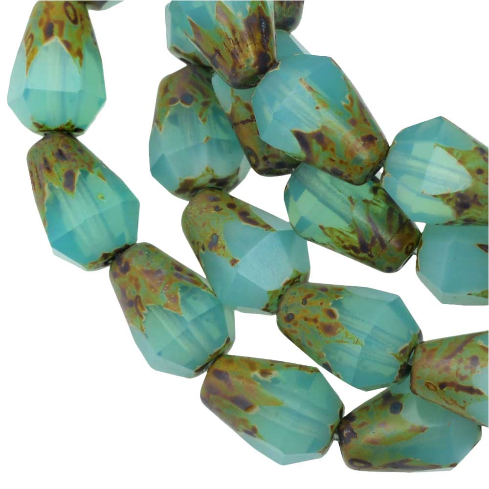 Czech Glass Beads, Faceted Bottom Cut Drop 8mm, Aqua Blue Opaline,Picasso, 1 Str, by Raven's Journey