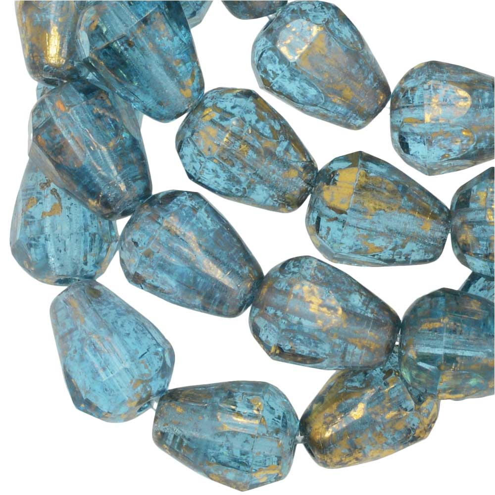 Czech Glass Beads, Faceted Bottom Cut Drop 8mm, Aqua Blue w/ Antique Gold, 1 Str, by Raven's Journey