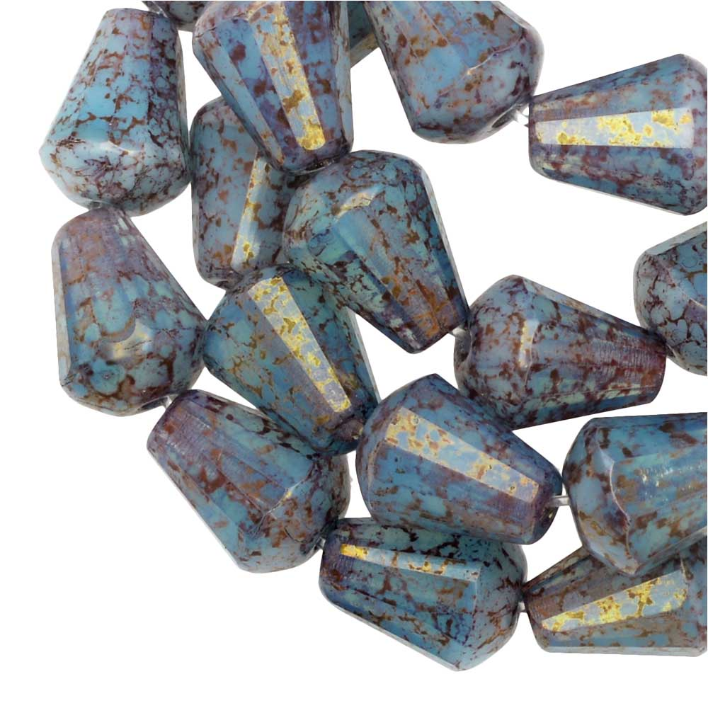 Czech Glass Beads Faceted Top Cut Drop 8mm, Blue Opaline Silk, Gold Marbled, 1 Str, Raven's Journey