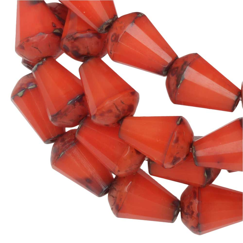 Czech Glass Beads, Faceted Top Cut Drop 8mm, Orange Silk, Picasso Finish, 1 Str, by Raven's Journey