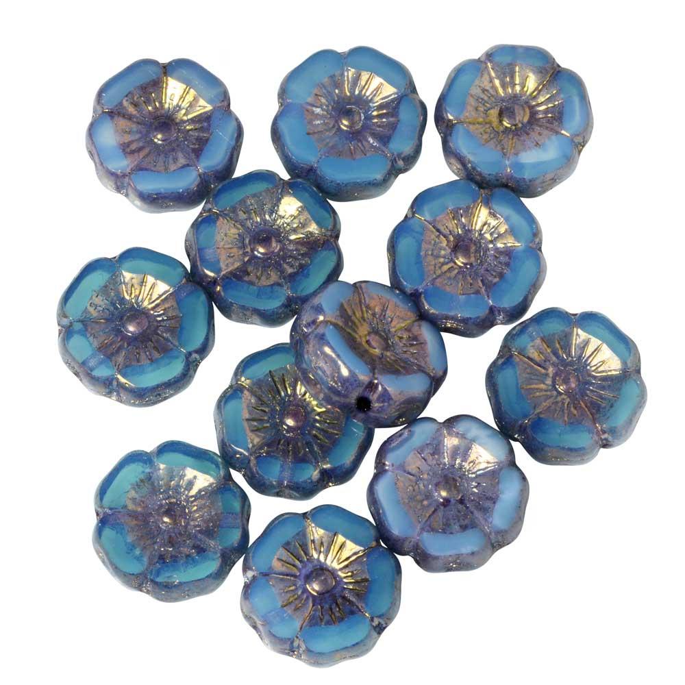Czech Glass Beads, Hibiscus Flower 11mm, Aqua Blue Silk, Bronze Finish, 1 Strand, by Raven's Journey