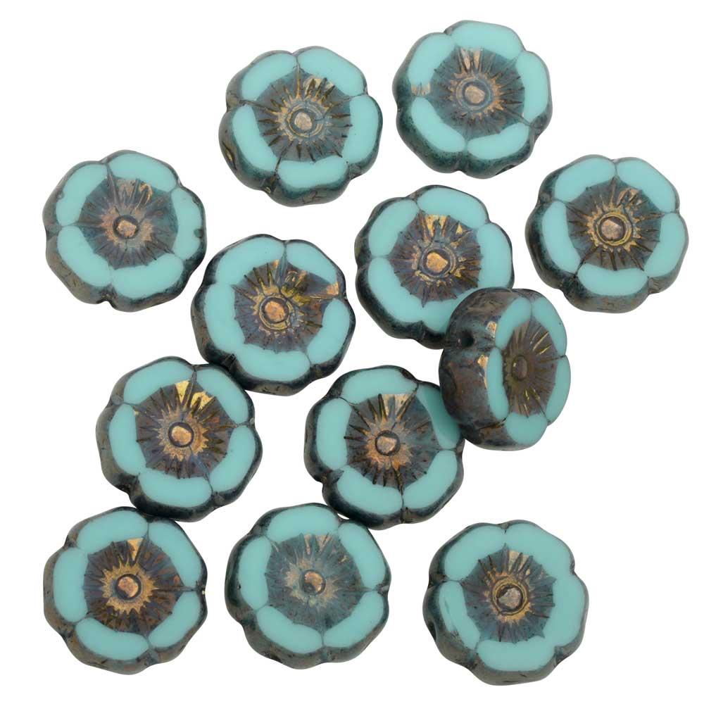Czech Glass Beads, Hibiscus Flower 11mm, Mint Green Silk, Bronze Finish, 1 Str, by Raven's Journey