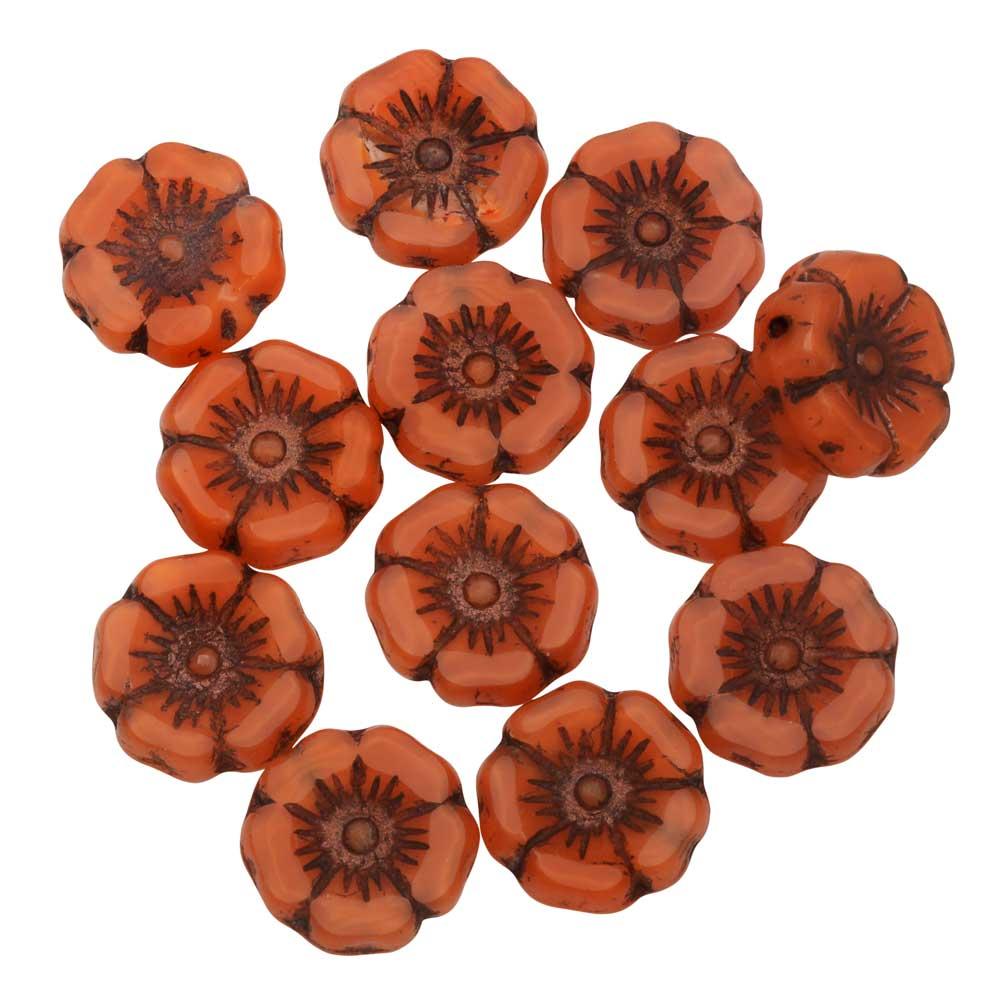 Czech Glass Beads, Hibiscus Flower 11mm, Orange Silk, Dark Bronze Wash, 1 Strand, by Raven's Journey