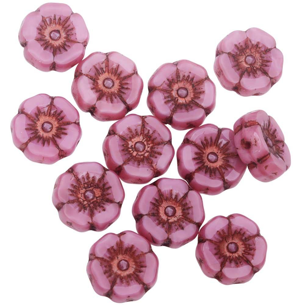 Czech Glass Beads, Hibiscus Flower 11mm, Pink Silk, Dark Bronze Wash, 1 Strand, by Raven's Journey