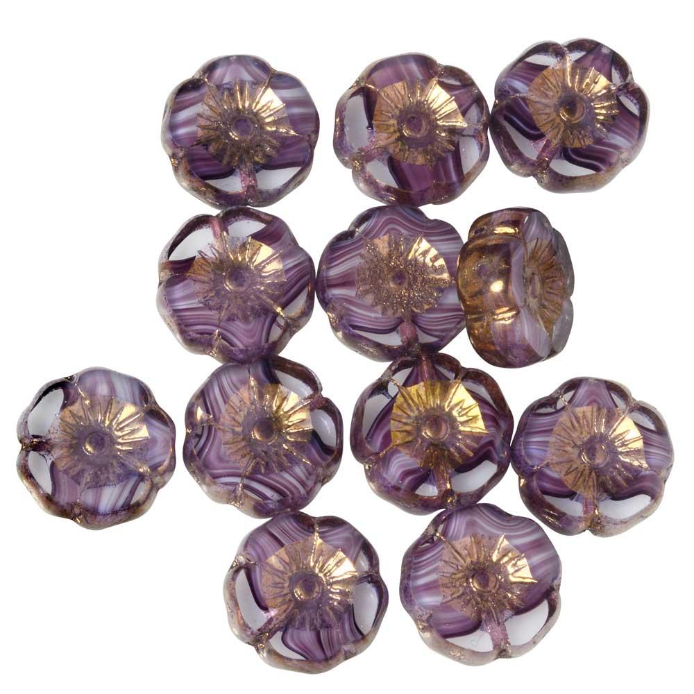 Czech Glass Beads, Hibiscus Flower 11mm, Purple & White Stripe, Bronze, 1 Str, by Raven's Journey
