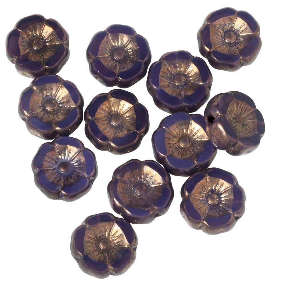 Czech Glass Beads, Hibiscus Flower 11mm, Purple Opaline, Purple Bronze, 1 Strand, by Raven's Journey