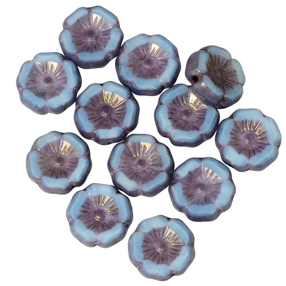 Czech Glass Beads, Hibiscus Flower 11mm, Sky Blue Silk, Lavender Bronze, 1 Str, by Raven's Journey