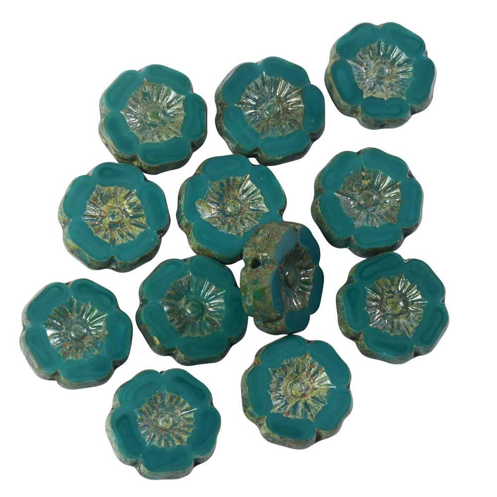 Czech Glass Beads, Hibiscus Flower 11mm, Turquoise Green Opaque, Picasso, 1 Str, by Raven's Journey
