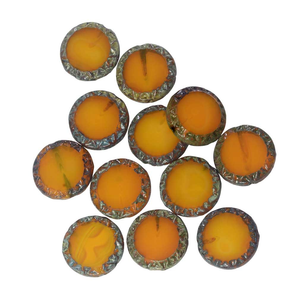 Czech Glass Beads, Mayan Sun Coin 11.5mm, Orange Opaline, Picasso Finish, 1 Str, by Raven's Journey